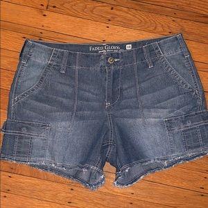 Faded Glory Denim Shorts Fringe Detail Size 10
